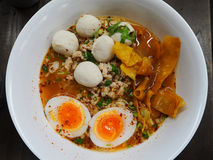 Spicy noodle with minced pork and boiled eggs Royalty Free Stock Photo