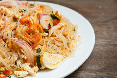 Spicy noodle salad or spicy vermicelli salad. Royalty Free Stock Photos