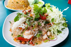 Spicy noodle salad, spicy vermicelli salad (yum woon sen). Stock Image