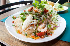 Spicy noodle salad, spicy vermicelli salad (yum woon sen). Royalty Free Stock Photo