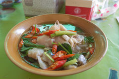 Spicy noodle. Soup with fish in Thailand Royalty Free Stock Photos