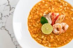 Spicy noodles soup with shrimp Stock Photos