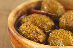 Spicy olive pickle Stock Photography