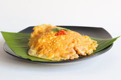 Spicy omelet  on banana leaf Royalty Free Stock Photos
