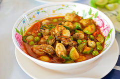 Spicy oyster soup with variety of herbs Royalty Free Stock Image