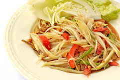 Spicy papaya salad. With fresh vegetable from thailand Stock Photo