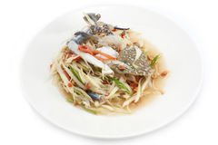 Spicy papaya salad with blue crab, som tum poo ma.  Stock Image