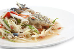 Spicy papaya salad with blue crab, som tum poo ma.  Stock Photos