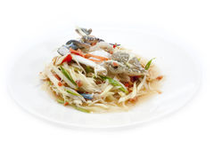 Spicy papaya salad with blue crab, som tum poo ma.  Royalty Free Stock Photo