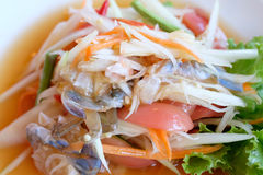 Spicy papaya salad with blue crab. Som tum poo ma Stock Image