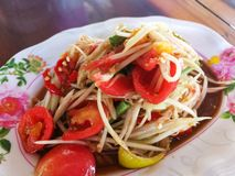 Spicy papaya salad. With chili Thai style food Royalty Free Stock Photos