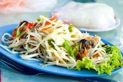 Spicy papaya salad. Close up spicy papaya salad royalty free stock photography