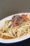 Spicy papaya salad with crab Stock Photo