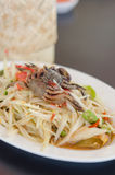 Spicy papaya salad with crab Stock Image