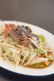 Spicy papaya salad with crab. On dish , asian spicy food stock images
