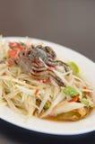 Spicy papaya salad with crab Stock Images