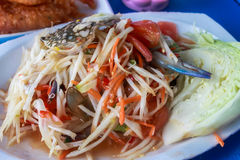 Spicy papaya salad with crab Royalty Free Stock Photography