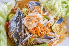 Spicy papaya salad with crab Royalty Free Stock Images