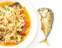 Spicy papaya salad and mackerel deep fried Stock Photos