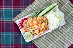 "Spicy papaya salad with mixed vegetable call ""Som Tum J"" is organic food served. Vegetable festival ,spicy papaya salad as lentils,cucumber,cashew Royalty Free Stock Photo"