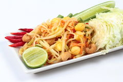 Spicy papaya salad with mixed vegetable call 'Som Tum J' . Spicy papaya salad with mixed vegetable call 'Som Tum J' is organic food served. Selective focus stock image