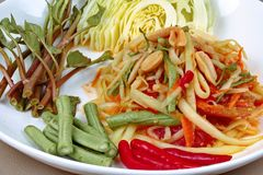 Spicy papaya salad with mixed vegetable  for Chinese vegetable f. Chinese Vegetable festival as spicy papaya salad with mixed vegetable call Som Tum J in Thai Royalty Free Stock Images
