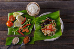 Spicy papaya salad with salted crab, Somtam. SomTam, Spicy papaya salad with salted crab Royalty Free Stock Photos