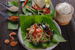 Spicy papaya salad with salted crab, Somtam. SomTam, Spicy papaya salad with salted crab Royalty Free Stock Photo