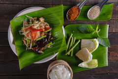 Spicy papaya salad with salted crab, Somtam. SomTam, Spicy papaya salad with salted crab Stock Images