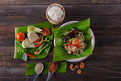 Spicy papaya salad with salted crab, Somtam. SomTam, Spicy papaya salad with salted crab Stock Photography