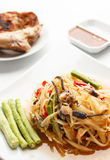 Spicy papaya salad with salted crab. Thai spicy papaya salad with salted crab royalty free stock images