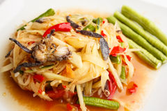 Spicy papaya salad with salted crab. Thai spicy papaya salad with salted crab (Som tum Stock Image