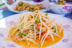 Spicy papaya salad Som Tam. Traditional food of Thailand royalty free stock photo