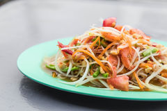 Spicy papaya salad. (som tum) - thai food Stock Image