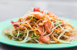 Spicy papaya salad. (som tum) - thai food Royalty Free Stock Photo