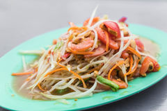 Spicy papaya salad. (som tum) - thai food Royalty Free Stock Photography