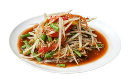 Spicy papaya salad Som Tum Thai traditional food isolated on white Royalty Free Stock Photography