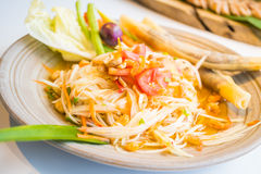 Spicy papaya salad Som tum. With vegetable - Thai food style , Color Filter Processing royalty free stock photography