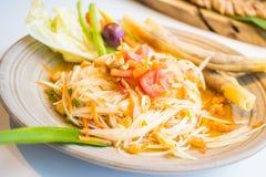 Spicy papaya salad  Som tum  Royalty Free Stock Photography