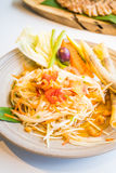 Spicy papaya salad Som tum. With vegetable - Thai food style , Color Filter Processing stock photo