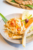 Spicy papaya salad Som tum. With vegetable - Thai food style , Color Filter Processing royalty free stock photo