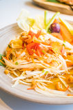 Spicy papaya salad Som tum. With vegetable - Thai food style , Color Filter Processing royalty free stock photos