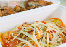 Spicy papaya salad - somtum. And chicken fried background Royalty Free Stock Photography
