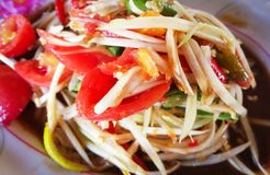 Spicy papaya salad. With chili Thai style food Royalty Free Stock Images