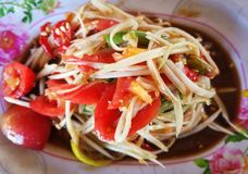 Spicy papaya salad. With chili Thai style food Stock Images