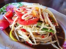 Spicy papaya salad. With chili Thai style food Stock Image