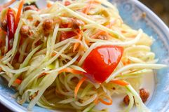 Spicy papaya salad. Thailand healthy food Stock Image