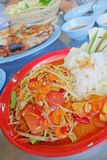 Spicy Papaya Salad , Thai style food. Mix of vegetables also know as Som Tam Stock Image