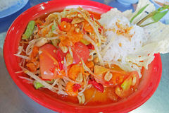 Spicy Papaya Salad , Thai style food. Mix of vegetables also know as Som Tam Royalty Free Stock Image