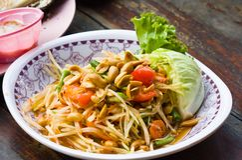 Spicy papaya salad from Thailand Stock Image